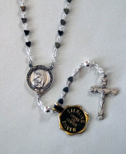 Godmother Hematite Heart Rosary