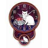 RELOJ DE PENDULO DISENO WHITE CAT GATO BLANCO RELOJ DE LA COCINA - NOSTALGICO NUEVO - Tinas Collection