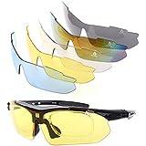 XQ-XQ® Lunettes de Soleil Polarisantes UV400 Protection de Pêche + 4 Paires Verre de Rechange pour Sport Vélo Outdoor