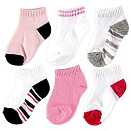 Luvable Friends 6 Pack No-Show Striped Socks, Girl-Striped, 6-18 Months