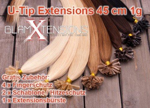 GlamXtensions Extensions de cheveux - 100% naturel 45cm - 1,0g - origine Inde - Au Système D'Extension Kératine 100 mèches #12 brun clair - light brown