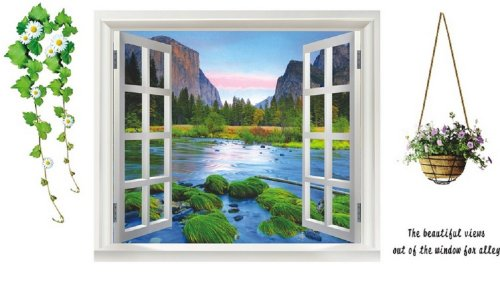 Large 3D River View Window Film Wall Stickers Home Decoration Art Mural Paper