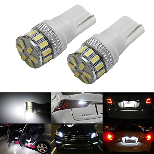 iJDMTOY (2) Super Bright 3014-SMD 168 175 194 2825 W5W T10 LED Bulbs For Car Interior & Exterior Lights Replacement, Xenon White image