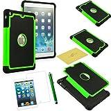 Fulland Case for ipad Mini, iPad Mini 2 and iPad Mini 3 Bundle with screen protector, Cleaning cloth and Stylus Pen - Green