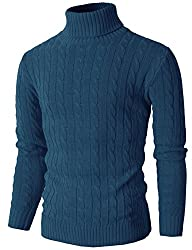 H2H Mens Casual Turtleneck Slim Fit Pullover Sweaters with Twist Patterned BLUE US S/Asia M (KMOSWL033)