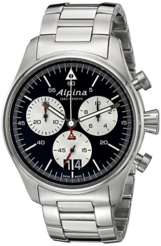 Alpina-Mens-AL-372BS4S6B-Startimer-Pilot-Chronograph-Big-Date-Analog-Display-Swiss-Quartz-Silver-Tone-Watch
