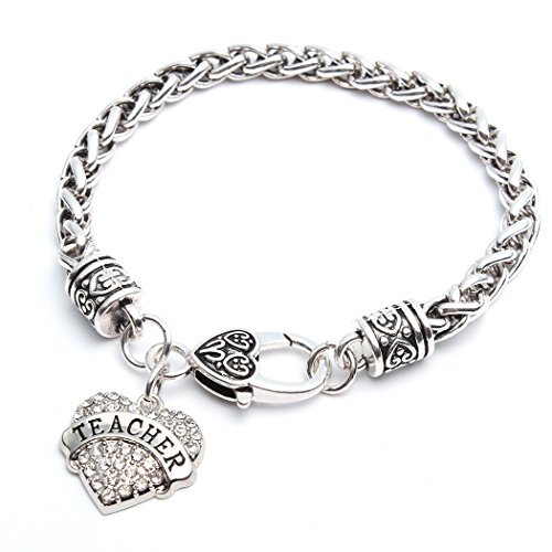 Heart Teacher Bracelet Cuff Women Girl Charm - White Crystal Silver Jewelry Gift