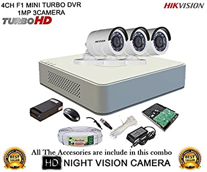 Hikvision-DS-7104HGHI-F1-Mini-4CH-Dvr,-3(DS-2CE16COT-IR)-Bullet-Cameras-(With-Mouse,-1TB-HDD,-Bnc&Dc-Connectors,Power-Supply,Cable)