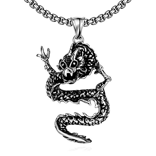 [ChristineStore Mens and Womens Vintage Stainless Steel Dragon Style Pendant Chain Necklace] (Brazilian Costume Ideas For Men)