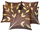 Car Vastra Leaves Patch Brown Cushion Cover Set of 5 (16x16Inches)