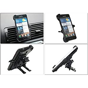 iTALKonline CUSTOM Dedicated Spring Mount Clip Air Vent Holder Cradle for Samsung i9100 Galaxy S II S2