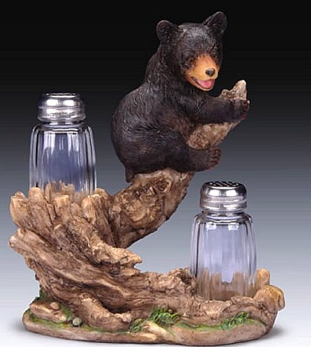 Grizzly Black Bear Cub on Tree Limb with Salt and Pepper Shaker Set