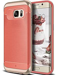 Galaxy S7 Edge Case, Caseology® [Wavelength Series] Textured Pattern Grip Cover [Coral Pink] [Shock Proof] for Samsung Galaxy S7 Edge (2016) - Coral Pink