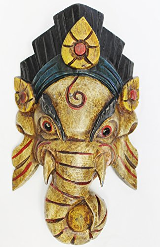 F735-731 Hand Crafted Wooden Mask of Hindu God Ganesh Wall Hanging Made in Nepal