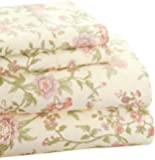 Trade Linker Park Avenue 4-Piece 350 Thread Count Cotton Rich Printed Sheet Set, Queen, Floral, Rose
