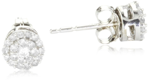 10k White Gold Round Diamond Cluster Earrings (1/4 cttw, IJ Color, I2-I3 Clarity)