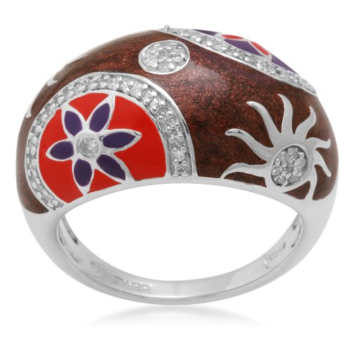 Sterling Silver with Multi-Color Enamel Diamond Ring (1/4 cttw, I-J Color, I3 Clarity), Size 6
