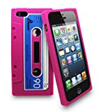 BRAND NEW RETRO APPLE IPHONE 5 5G CASSETTE TAPE CASE / COVER / SILICONE / GEL / SKIN (Pink)
