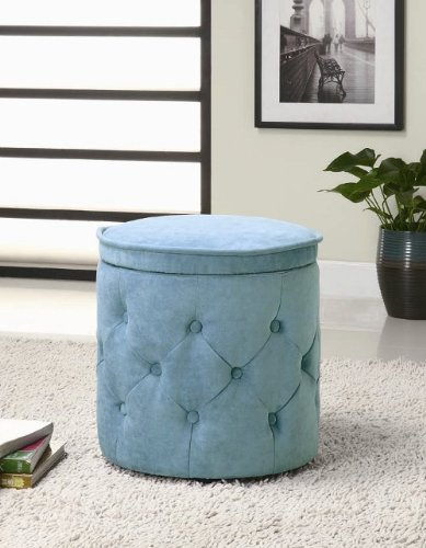 Round Storage Ottoman with Button Tufted in Blue Chenille Fabric