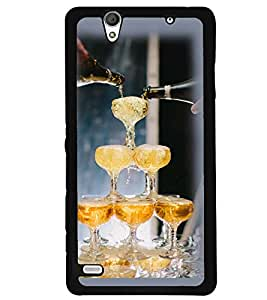 Printvisa Wine Glasses Pyramid Back Case Cover for Sony Xperia C4 Dual E5333 E5343 E5363::Sony Xperia C4 E5303 E5306 E5353