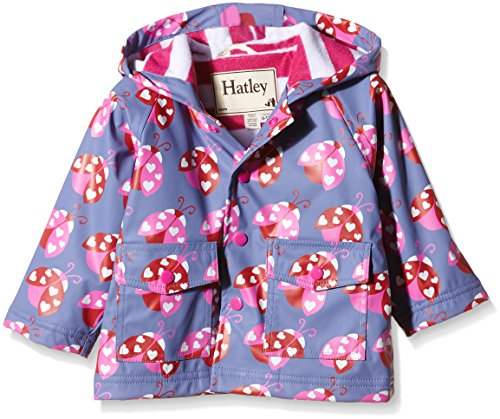Hatley Baby Ladybug Garden Infant Raincoat, Purple, 6-12 Months