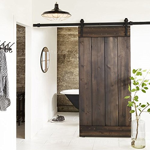 Erfect 8 FT Antique Style Barn Door Hardware Sliding Set Wood Door Track Kit Black (