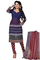 Variation Women's Blue Crepe Unstiched Dress Material (VD13096)