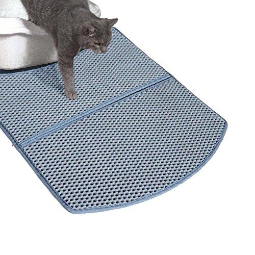 WooPet! Litter Mat for Cat Grey 24 x 22, Litter Free Fit Under Litter Box, Cat Litter Trap and Water Proof Keep Floor Tidy
