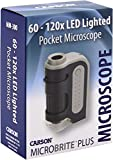 Carson MicroBrite Plus 60x-120x Power LED Lighted Pocket Microscope (MM-300)