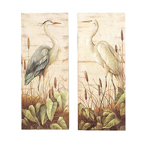 Heron Bird Canvas Hanging Wall Art - Set of 2 (Bbq Canvas Art compare prices)