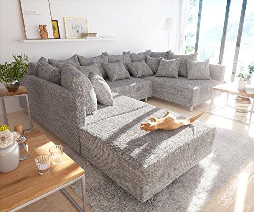 Couch-Clovis-Hellgrau-Strukturstoff-mit-Hocker-Wohnlandschaft-Modulsofa