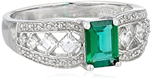 Sterling Silver Emerald-Cut Created Emerald Ring, Size 6
