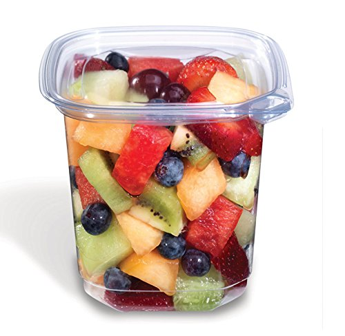 Placon EV1-24, 24 Oz Evolutions Tamper-Resistant Clear Square Deli PET Base with Lid, Take Out Disposable Catering Food Containers with Matching Lids (100) (Deli Paper Squares compare prices)