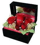 メッセージローズ (Preserved Rose) ローズブラックミラーボックス Large~キング&クィーン~レッド 【ありがとう】 22258