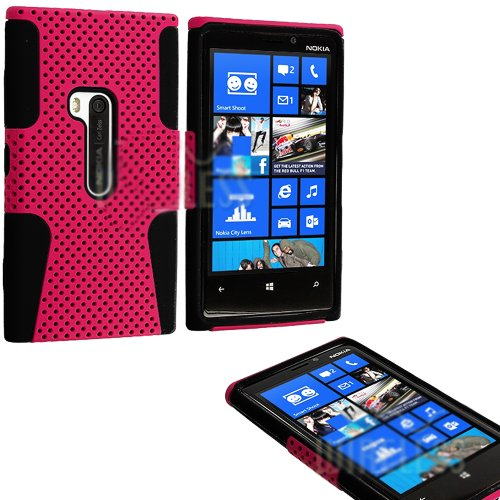 Mylife (Tm) Ultra Pink And Dark Black Perforated Mesh Series (2 Layer Neo Hybrid) Slim Armor Case For The Nokia Lumia 920, 920.2, 920T And 920 4G Camera Smartphone By Microsoft (External Rubberized Hard Shell Mesh Piece + Internal Soft Silicone Flexible G
