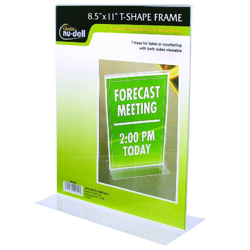 Nu-Dell 8.5 X 11 Inches T-Shaped Sign Holder, Clear front-714574