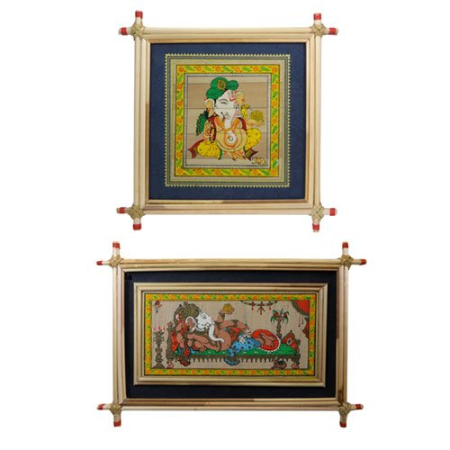 Set of 2 Framed Ganesh Paintings with Blue Border