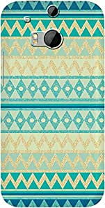 DailyObjects Glittering Chevron In Gold And Mint Case For HTC One M8