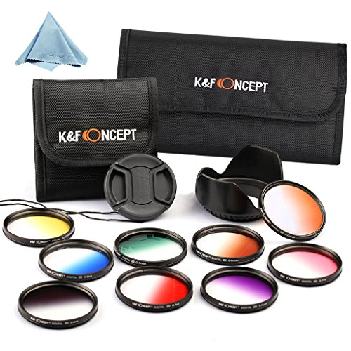 K&F Concept 58Mm 9Pcs Graduated Color Filter Kit For Canon Eos Rebel T5I T4I T3I T3 T2I T1I Xt Xti Xsi Sl1 Etc Nikon D300 D7000 D5100 D3200 Etc W/ Lens Hood+ Lens Cap With Cap Keeper Holder+ Microfiber Cleaning Cloth +3-Slot Filter Case + 6-Slot Filter Ca