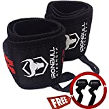 """Best Wrist Wraps + Free Lifting Straps (2 Pairs) - 20"""" Heavy Duty Wrist Support with Thumb Loop - CrossFit Weight Lifting Bodybuilding Protection - Pair of Two Wrist Wraps + Pair of Free Lifting Straps - Men and Women"""