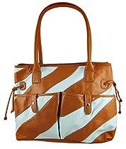 Large Light Blue / Tan Striped Shoulder Bag Tassels