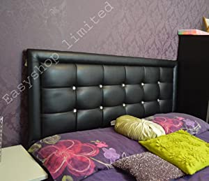 White/Black/Brown/Cream Super Quality MIAMI Faux Leather 4FT6 Headboard Tufted Crystal Button Bedroom Home Length:4FT6, Height:20 Inches (Black)