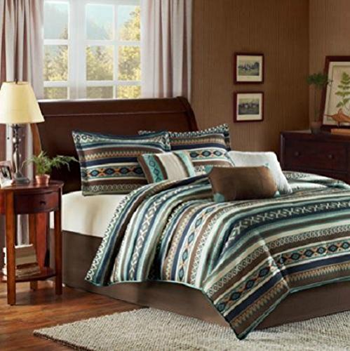 7Pc Queen Turquoise Blue Brown Southwestern Indian Print Comforter Bedding Set front-918449