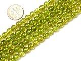6mm Round Green Peridot Beads Strand 15 Inch Jewelry Making Beads