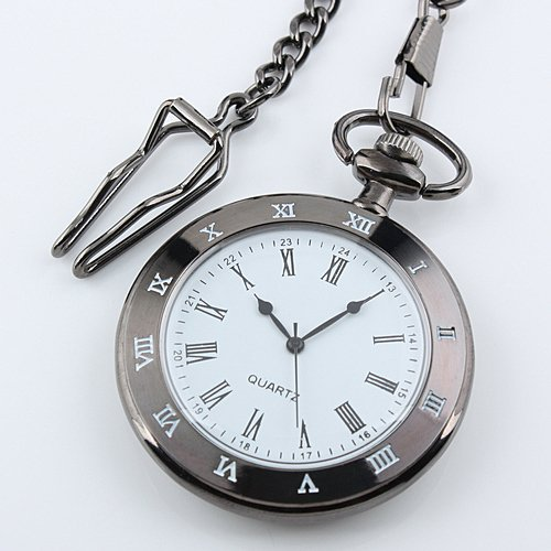 Men's Black Stainless Steel Case White Dial Roman Numerals Antique Pocket Watch with Chain WP099