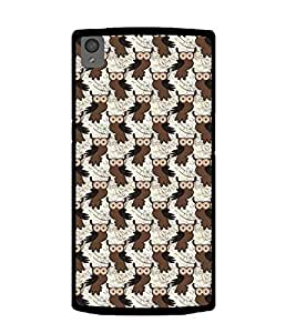 Printvisa Brown Black Animated Owl Pattern Back Case Cover for OnePlus X:: ONE PLUS X