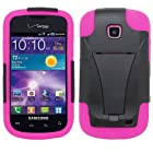SOGA Hybrid Dual Layer Hard Case Black With Hot Pink Silicone Skin Cover and Kickstand for Samsung Galaxy Proclaim 720C SCH-S720C / illusion i110 (Straight Talk) / (Verizon) [SWG249]