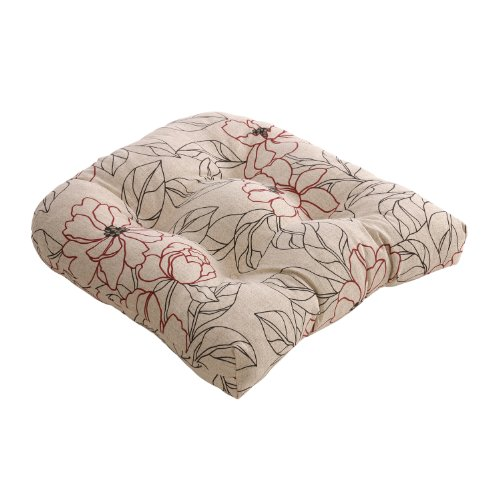 Pillow Perfect Red/Beige Floral Chair Cushion image