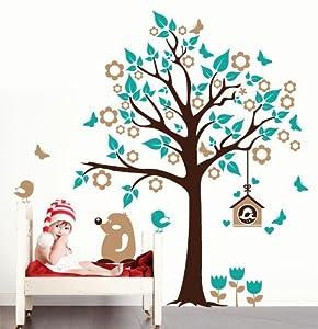 Adesivo murale wall sticker per bambini albero con - Albero su parete ...