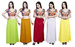 Pistaa combo of Women's Cotton Parrot Green, Mustard, Rani Pink, Milky White and Lemon Yellow Color Best Indian Comfort Inskirt Saree petticoats